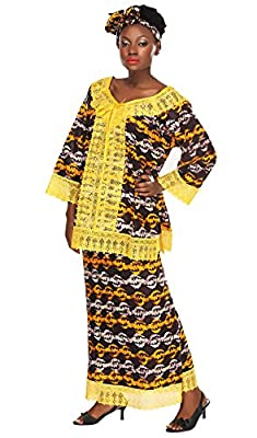 African Planet Women's Skirt Set Printed Brown Kente Wax Lace Gele Headwrap