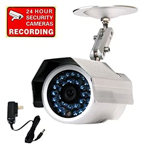 """VideoSecu Outdoor 30 Infrared Leds Audio Microphone Security Camera Day Night Vision Weatherproof 1/3"""" SONY Super HAD CCD 3.6mm Wide View Angle Lens 420TV Lines CCTV Camera for DVR Home Surveillance System Free Power Supply CAQ"""