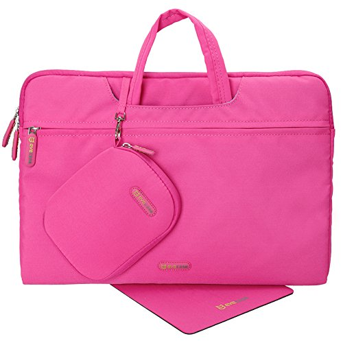 Evecase 15.6-inch Nylon Fiber Waterproof Universal Carrying Briefcase Bag with Handles + Acessories Bag + Mouse Pad for Notebook, Chromebook, Macbook, laptop and Ultrabooks - Hot Pink