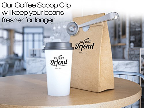 Thirst Friend Premium Conical Burr Coffee Grinder With New Stainless Steel Coffee Scoop Clip. Best To Brew Great Coffee At Home. Aeropress, French Press, Italian Coffee Maker & Pour Over Compatible ...`