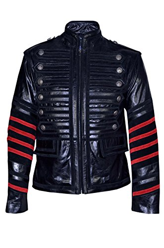 Battalion-Mens-Black-Military-Style-Steam-Punk-Real-Leather-Jacket-Coat