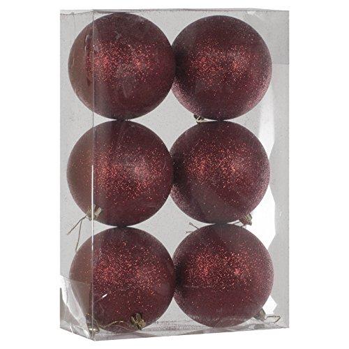 6 Décorations sapin de noël luxe 10cm - Boules rouge foncé pailleté