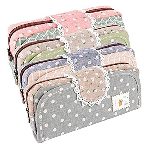 tininna-large-capacity-lace-polka-dot-canvas-pencil-case-pen-bag-cosmetic-makeup-bag-with-zipper-for