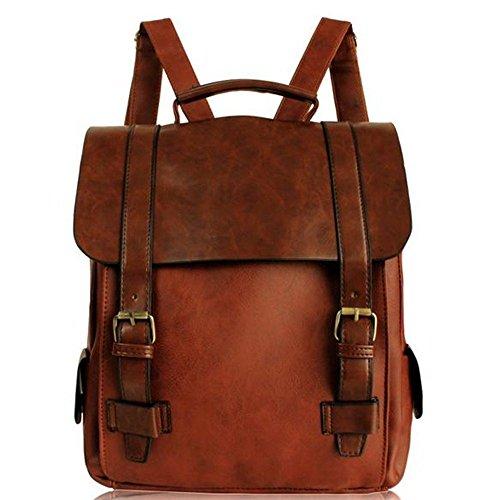 Minetom Donna Zaino Vintage British Style Multifunzione Scuola Borsa A Tracolla Tote Borsa Zaini Casual Marrone One size