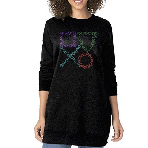 Play Station Icon Women's Long Hoodie Sweatshirt