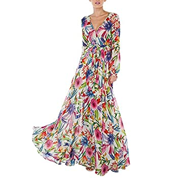 Haoyihui Vintage Style Chiffon V Neck Puff Pleated Wrap Long Maxi Full-Skirted Dress