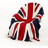 Bronte Throw Blanket - Rule Britannia - Merino Lambswool (Union Jack - Red/White/Blue)
