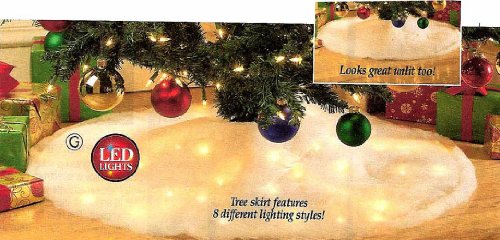 """40"""" Led Lighted Snow Tree Skirt With 8 Different Lighting Styles!"""
