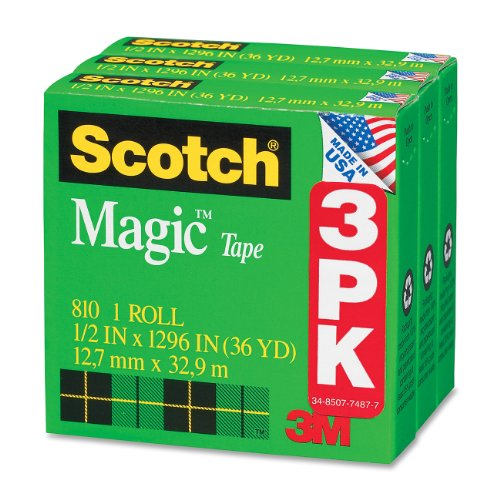 Scotch Magic Tape, 1/2 x 1296 Inches, Boxed, 3 Rolls (810H3)
