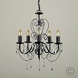 Traditional Black Ornate Vintage Style Shabby Chic 5 Way Ceiling Light Chandelier With Beautiful Acrylic Jewels by MiniSun