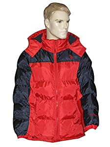 U.S. Polo Assn. Men's Classic Short Puffer Colorblock Jacket with Pony Logo, Engine Red, Large