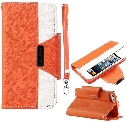 Mylife (Tm) Orange And White Fancy Design - Textured Koskin Faux Leather (Card And Id Holder + Magnetic Detachable Closing) Slim Wallet For Iphone 5/5S (5G) 5Th Generation Itouch Smartphone By Apple (External Rugged Synthetic Leather With Magnetic Clip +