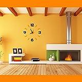 Time It Designer Self Adhesive Innovative DIY (Do It Yourself) Analog Wall Clock - (Orange - Black) - CLWC101OR1