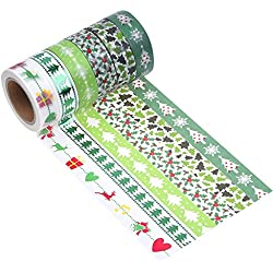 Mudder Washi Masking Tape Decorative Tape for Christmas Gift Wrapping, 6 Pieces
