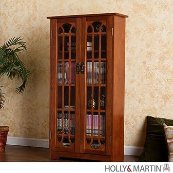 Southern Enterprises Window Pane Media Cabinet Bookcase - Oak