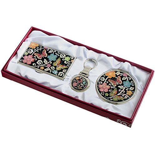 Nacre Mother Of Pearl Business Card Holder Compact Mirror Keychain Gift Sets, Business Card Credit Id Card Case Makeup Cosmatic Mirror Key Holder Set Ume Flower & Butterfly Design front-58096