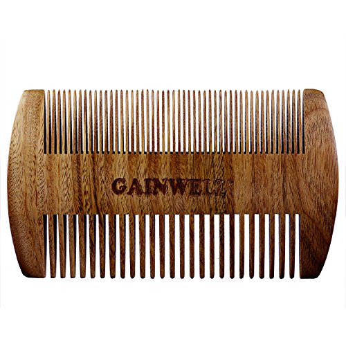 GENTLEMEN'S BEARD COMB - 100% Natural Sandalwood - Traditional Men's Fine Tooth Beard Comb - Easily keeps Beard Knot and Tangle Free without Snagging - Quality Box Packaging makes Perfect Gift Set - GAINWELL