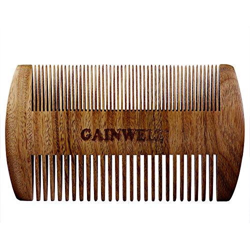 Peine de madera de sándalo anti estático, de bolsillo, para la barba GAINWELL