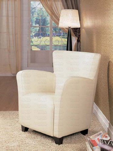 Accent Arm Chair White Leather By Coaster Furniture