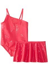 Baby Buns Girls' 1 Piece Swimsuit with Skirt Sparkle Jane