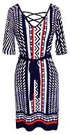 Peach Couture Retro Fun Printed Shift Dress with Waist Tie Belt