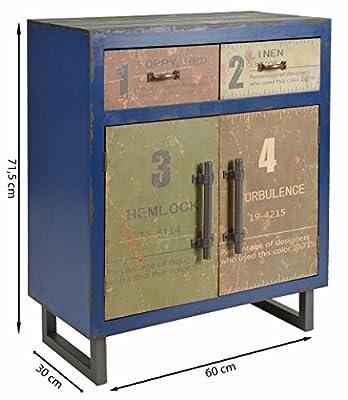 ts-ideen Landhaus Kommode Schrank Regal Ablage Schlafzimmer Flur Container Industrie Design Shabby Optik Vintage Used Look Holz Blau