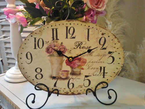 Shabby Chic Vintage Mantle Clock Oval Cream With Pink Roses French Distressed Style Metal Frame