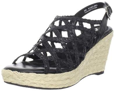 Softwalk Women's Croix Wedge Sandal,Black,6.5 M US