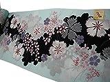 綿紅梅 浴衣反物 水色地萩に撫子 桜七軒 日本製