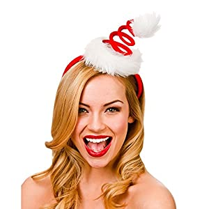 Adults Red Spiral Santas Hat on Headband Christmas Fancy Dress Up Accessory New