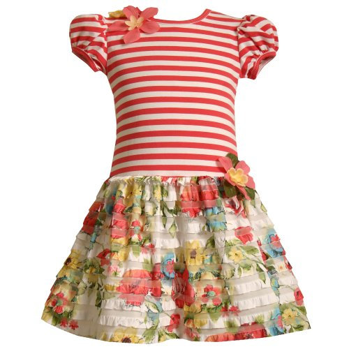 Size-3T BNJ-1022R CORAL-PINK STRIPE MULTI FLORAL TIERED RUFFLE Special Occasion Spring Summer Party Dress,R21022 Bonnie JeanToddler Girls 2T-4T