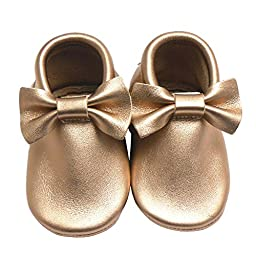Sayoyo Baby Gold Bow Tassels Soft Sole Leather Infant Toddler Prewalker Shoes (6-12 months, Gold)