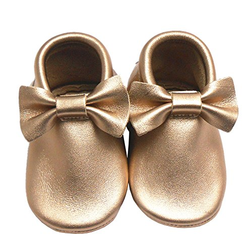 Sayoyo Baby Gold Bow Tassels Soft Sole Leather Infant Toddler Prewalker Shoes (18-24 months, Gold)