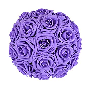 Febou Artificial Flowers, 50pcs Real Touch Artificial Foam Roses Decoration DIY for Wedding Bridesmaid Bridal Bouquets Centerpieces, Party Decoration, Home Display (Delicate Type, Purple)