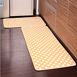 Ustide 2 piece yellow polka dot kitchen rug set kitchen memory foam rug soft rug - Yellow kitchen floor mats ...