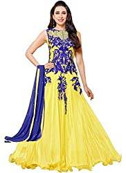 Dharmee Women Cotton Ethnic Anarkali suit(Karishma_yellow)