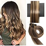 TheFashionWay Brazilian Human Hair Extensions Clip in Silky Straight Weft Remy Hair (15 inches, #4-27)