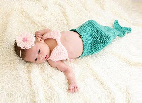 Jastore ® Foto Fotografie Prop Baby Kostüm blaue Meerjungfrau häkel Stricken Handarbeit