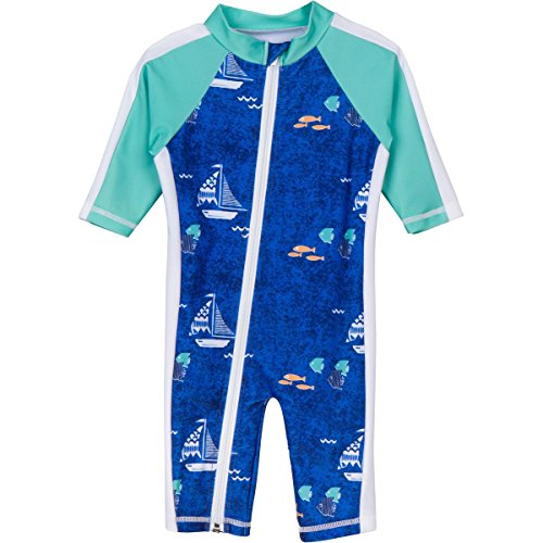 SwimZip® Little Boy Long Sleeve Sunsuit with UPF 50 Sun Protection Blue Boat 0-6 Month