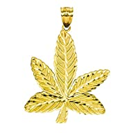 14K Yellow Gold Cannabis Marijuana Le…