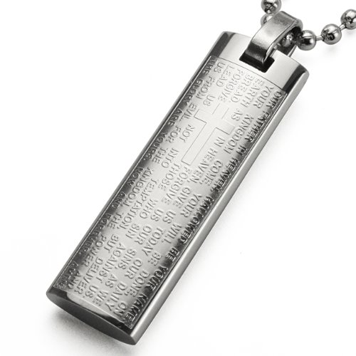 """English Lord'S Prayer And Cross Stainless Steel Large Pendant Necklace 24"""""""