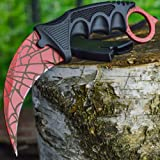TegoniTM Stainless Steel Crimson Net Spider Neck Knife Hawkbill with ABS Sheath and Cord