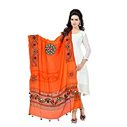 Banjara WomenS Cotton Stoles & Dupattas Kutchi Mirrorwork (Kch11 _Tangy Orange _Handicraft Dupatta_Free Size)