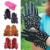 Women's Rivets Butterfly Bow Pu Leather Gloves by NYC Leather Factory Outlet
