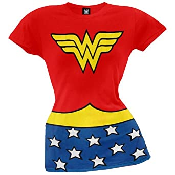 Wonder Woman Costume Red Juniors T-shirt Tee L