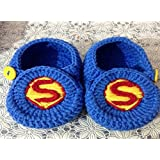 Blue With Flowers Hand-knitted Wool Baby Shoes Baby Toddler Soft Soled Baby Shoes Double Sole One Hundred Days...