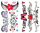 Waterproof And Non Toxic Hot Selling 1 Package With 2pcs Waterproof Colorful Flower Butterfly Red Heart And Angel Wing Fake Tattoos
