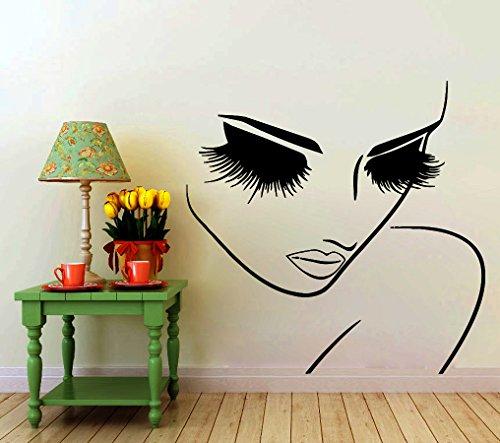 Wall Decals Hairdressing Hair Beauty Salon Decal Vinyl Sticker Woman Long Lashes Closeup Makeup Art Home Decor Window Decals Bedroom Interior Living Room Murals Chu913