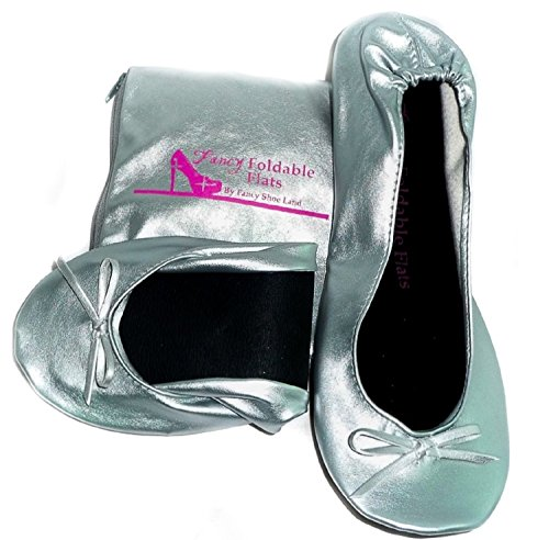 Women's Ballet Flats - Foldable Flats WITH EXPANDABLE TOTE BAG - Great for Weddings Brides Bridal Parties, Bridesmaid Shoes, Expandable Tote Bag for Carrying High Heels -Fancy Flat SILVER shoes - Best PORTABLE Travel SHOES fold up ballet shoes (Medium...