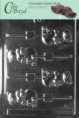 Cybrtrayd B029 Bears On Blocks Lolly Baby Chocolate Candy Mold